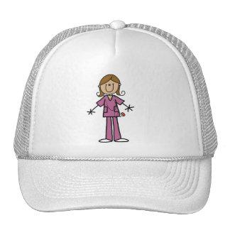 Figura media enfermera de sexo femenino del palill gorras