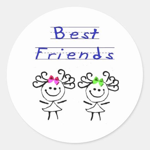 Figura mejores amigos del palillo etiqueta redonda