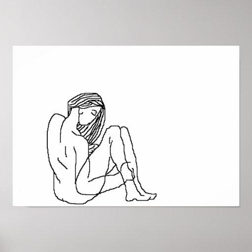 figura minimalista lona del dibujo póster