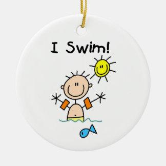 Figura muchacho del palillo que nado adorno navideño redondo de cerámica