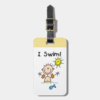 Figura muchacho del palillo que nado etiquetas bolsa