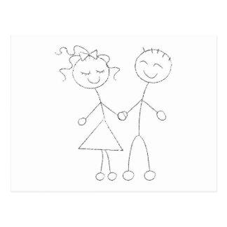 Figura muchacho y chica del palillo tarjeta postal