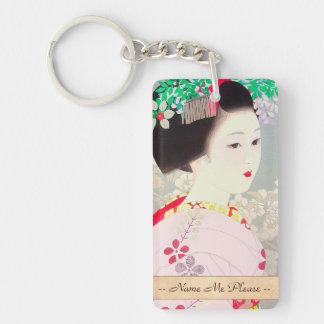 Figura mujer japonesa Kato Shinmei de la primavera Llavero Rectangular Acrílico A Doble Cara
