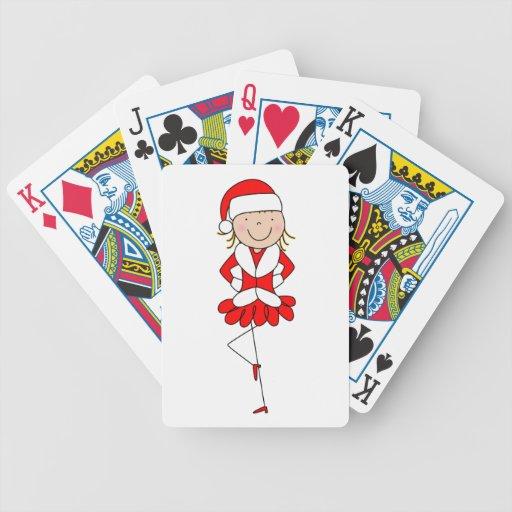 Figura naipes del palillo del bailarín del navidad barajas de cartas