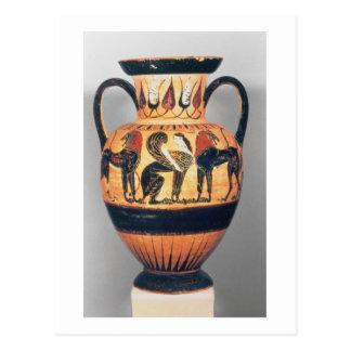 Figura negra amphora de Chalcidian que representa Tarjeta Postal