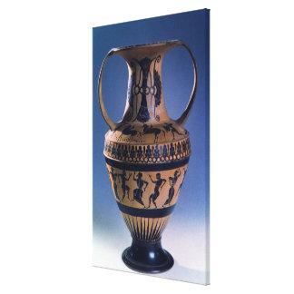 Figura negra amphora del ático que representa a lo impresiones de lienzo