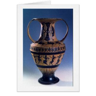 Figura negra amphora del ático que representa a lo tarjeta de felicitación