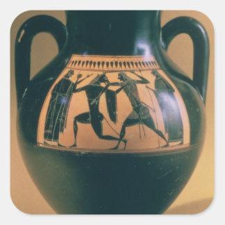 Figura negra amphora del ático que representa pegatina cuadrada