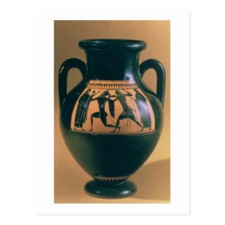 Figura negra amphora del ático que representa postales