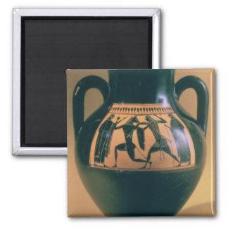 Figura negra amphora del ático que representa Thes Imán Cuadrado