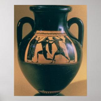 Figura negra amphora del ático que representa Thes Impresiones