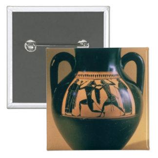 Figura negra amphora del ático que representa Thes Pin Cuadrado