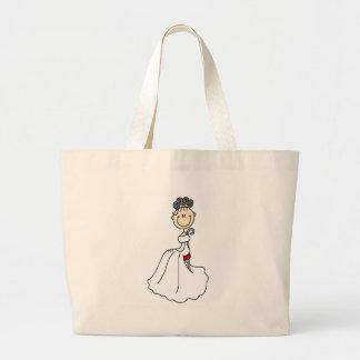 Figura negra bolso del palillo de la novia bolsa tela grande