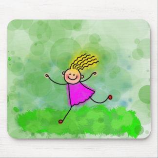 Figura niño del palillo del chica mousepad