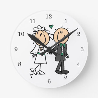 Figura novia del palillo y camisetas y regalos del reloj redondo mediano
