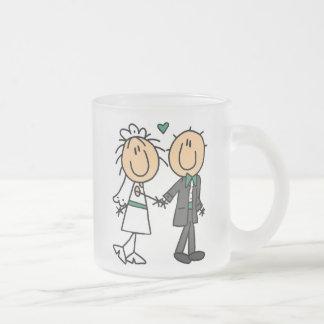 Figura novia del palillo y camisetas y regalos del taza cristal mate