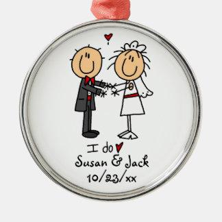 Figura novia y novio del palillo personalizados adorno redondo plateado