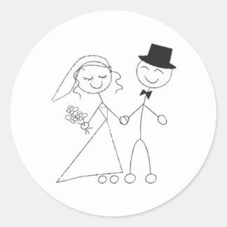 Figura novia y novio del palillo que casan la pegatina redonda