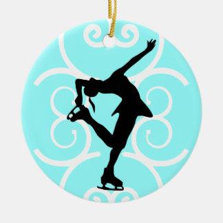Figura ornamento del patinador - azul claro - adorno redondo de cerámica