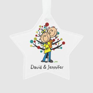 Figura par del palillo en el ornamento del navidad