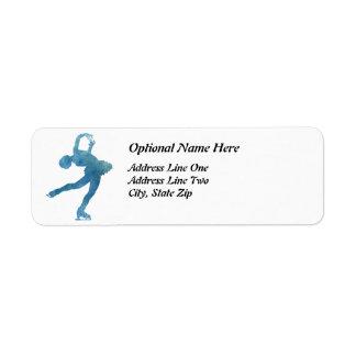 Figura patinador azul fresca etiqueta de remite