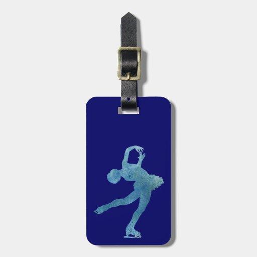 Figura patinador azul fresca etiquetas de maletas