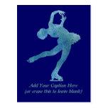 Figura patinador azul fresca tarjeta postal
