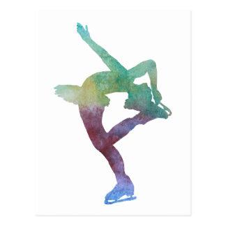 Figura patinador de Colorwashed Postal