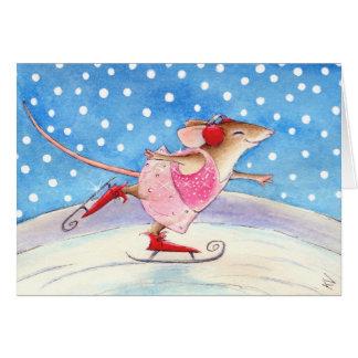 Figura patinador del ratón tarjeta de felicitación