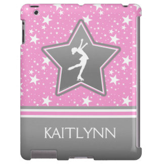 Figura patinador entre el rosa de las estrellas funda para iPad