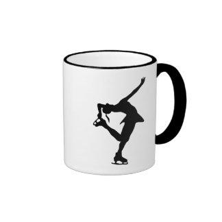 Figura patinador - negro y blanco taza de dos colores
