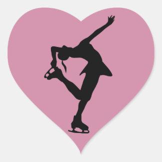 Figura patinador - pegatina rosado del corazón