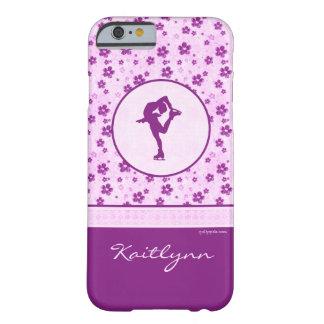 Figura patinador personalizada Purple Heart floral Funda Barely There iPhone 6