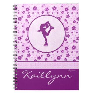 Figura patinador personalizada Purple Heart floral Libro De Apuntes