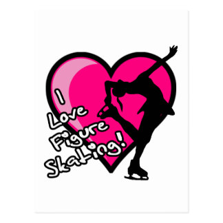 Figura patinador, rosa fuerte y negro tarjeta postal