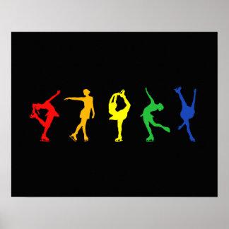 Figura patinadores del arco iris poster