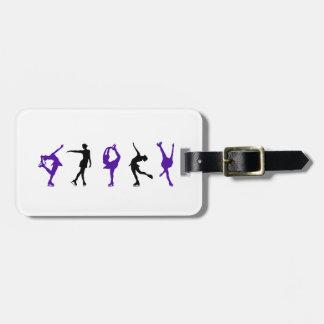 Figura patinadores - púrpura y negro etiqueta de equipaje