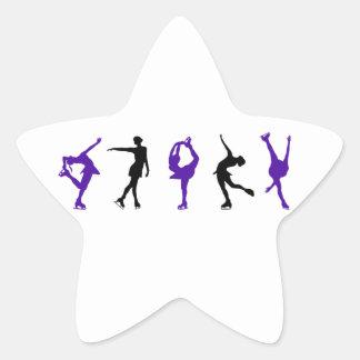 Figura patinadores - púrpura y negro pegatina en forma de estrella