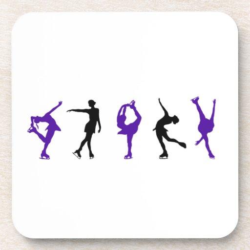 Figura patinadores - púrpura y negro posavaso