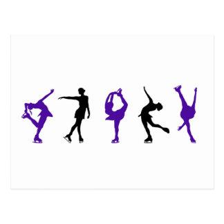 Figura patinadores - púrpura y negro tarjetas postales