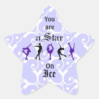 Figura patinadores - usted es una estrella - lila pegatina en forma de estrella