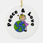 Figura paz del palillo del chica y camisetas y reg adornos de navidad