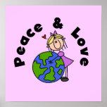Figura paz del palillo del chica y camisetas y reg poster