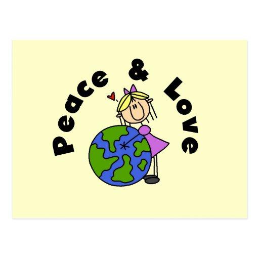 Figura paz del palillo del chica y camisetas y reg postal