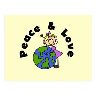 Figura paz del palillo del chica y camisetas y tarjeta postal