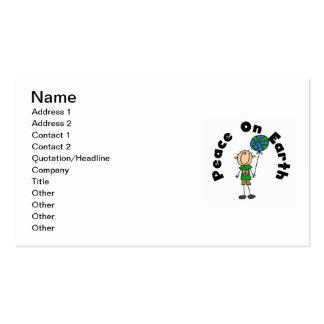 Figura paz del palillo del muchacho en las tarjetas de visita