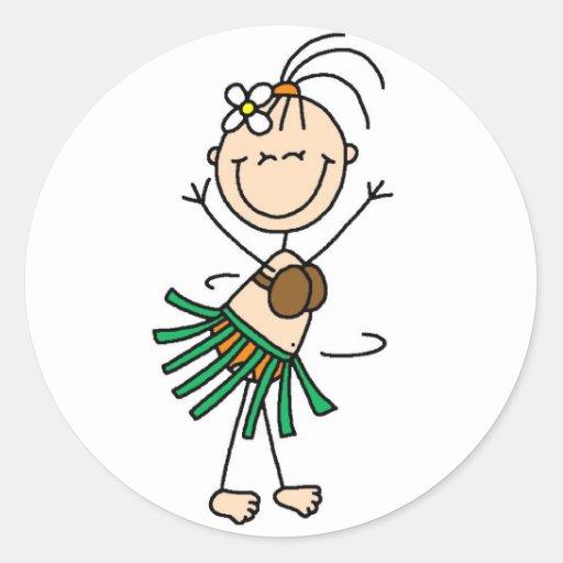 Figura pegatina del palillo del baile de Hula