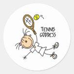 Figura pegatinas del palillo de la diosa del tenis etiqueta redonda