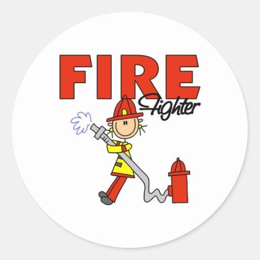 Figura pegatinas del palillo del bombero etiquetas redondas