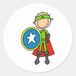 Figura pegatinas del palillo del héroe etiquetas redondas